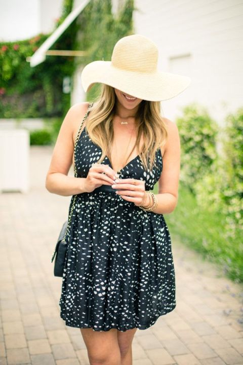 A floppy straw hat and flowy summer dress are a must.