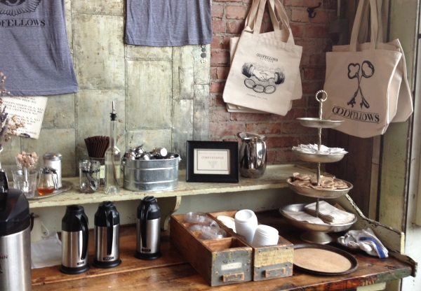 Coffee station at Oddfellows Cafe